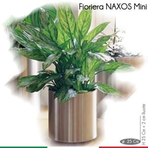 Fioriera con Ruote Naxos Mini diametro 25xh27 cm - L 12 in Acciaio Inox Aisi 430 inox Lucido