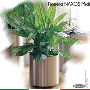 Fioriera Naxos MIDI diametro 36xh35 cm - L 35 in Acciaio Inox Aisi 430 inox Satinato
