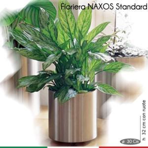 Fioriera con Ruote Naxos Standard diametro 31xh32 cm - L 21 in Acciaio Inox Aisi 430 inox Satinato