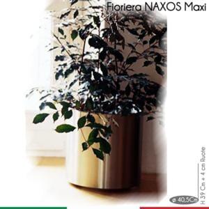 Fioriera con Ruote Naxos Maxi diametro 40,5xh43 cm - L 49 in Acciaio Inox Aisi 430 inox Satinato