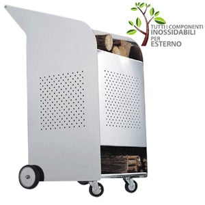 Portalegna Wood 53x73xh100 cm trolley OUTDOOR per esterni