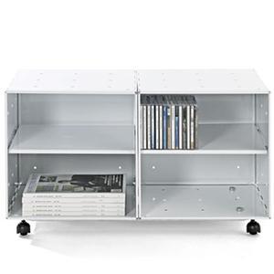 Mobile basso Libreria Bagno o Cucina Studio QBO 2 Moduli 70x35xh42h cm con Ruote e Mensole in Colore Bianco