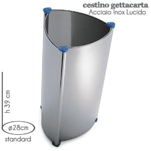 Cestino Standard M.A.C. Ø28x h39cm inox lucido