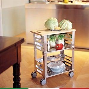 Carrello da cucina P.U.B. Kitchen 56 x 32.5 x h 71 in Acciaio Inox lucido con tagliere in legno