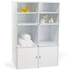 Mobile da Bagno o Cucina QBO 6 Moduli 70x35xh105h cm Con ante e Mensole in Colore Bianco