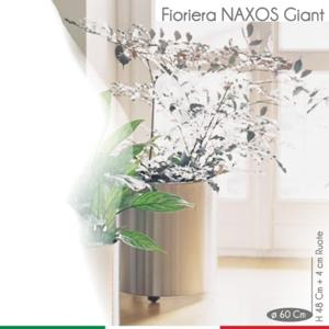 Fioriera con ruote Naxos Giant diametro 60.5xh52 cm - L 135 in Acciaio Inox Aisi 430 Inox Lucido