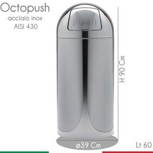 Pattumiera Octopush Extra diametro 39xh90 cm - 60 lt con sportello basculante in acciaio inox