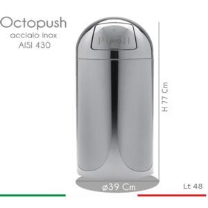 Pattumiera Octopush Maxi diametro 39xh77 cm - 48 lt con sportello basculante in acciaio inox