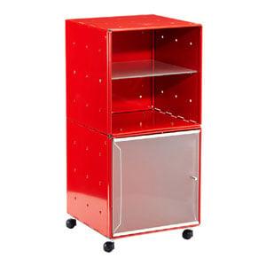 Carrellino Comodino QBO 28 Composizione con due Cubi ripiano in vetro anta in vetro con maniglia e ruote Rosso