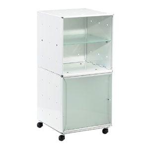 Carrellino Comodino QBO 28 Composizione con due Cubi ripiano in vetro anta in vetro con maniglia e ruote Bianco