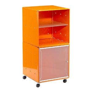 Carrellino Comodino QBO 28 Composizione con due Cubi ripiano in vetro anta in vetro con maniglia e ruote Arancio