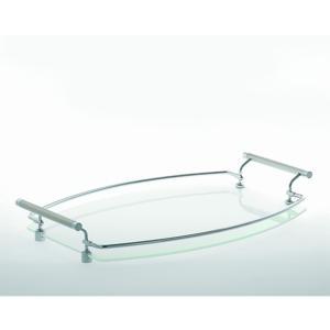Vassoio rettangolare piccolo Full Metal 46x29xh7 cm in vetro supporti in metallo