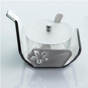 Formaggera in Plexi Bicolore SOPHIE 13x10xh9 cm interno in vetro rotonda con cucchiaino tortora