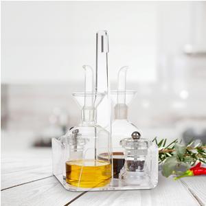 Menage 4 Pezzi Olio Aceto sale e Pepe LIKE WATER 14x14xh23 cm struttura in plexiglas Trasparente, ampolle in cristallo temperato