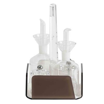 Menage 4 Pezzi Olio Aceto sale e Pepe LIKE WATER 14x14xh23 cm struttura in plexiglas Marrone, ampolle in cristallo temperato con salvagoccia