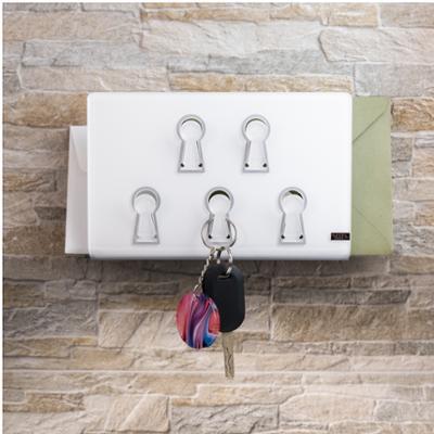 Portaposta portachiavi Chiavi da muro 21x7xh13,5cm G tagliato al laser laser Bianco