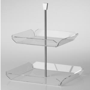 Alzata Due Piani in Plexi Trasparente LIKE WATER 26,5x26,5h34 cm