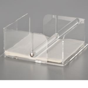 Portatovaglioli Con Barra in Plexi Trasparente LIKE WATER 22x22xh8,5 cm