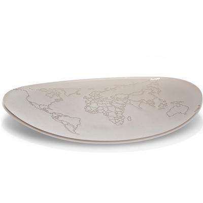 Vuotatasche in cristallo acrilico bicolore con incisione mondo Ø25xh3 cm colore grigio tortora