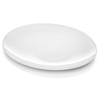 Vuotatasche in cristallo acrilico bicolore con incisione cerchi concentrici 26x18xh3 cm colore bianco