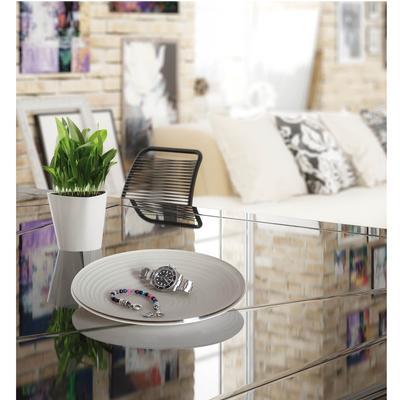 Vuotatasche in cristallo acrilico bicolore con incisione cerchi concentrici 26x18xh3 cm colore tortora