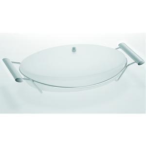 Pirofila ovale 43.5x24.5xh11 cm Arianna con coperchio in pirex satinato da forno con coperchio