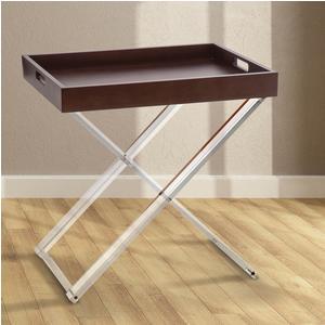 Tavolinetto con Vassoio Pliant 57,5x41xh59 cm MARCEL in plexiglas trasparente e vassoio asportabile legno