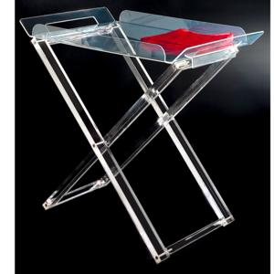 Tavolinetto con Vassoio Pliant 63x41xh61 cm MARCEL in plexiglas trasparente e vassoio asportabile