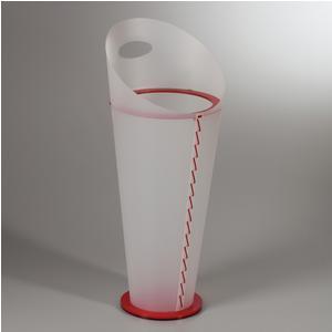 Portaombrelli KEILA 27xh64 cm in polipropilene Bianco base in cristallo acrilico rosso