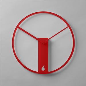 Orologio da muro tondo in plexiglass bicolore THIN diametro 38 cm spessore 5 mm colore rosso
