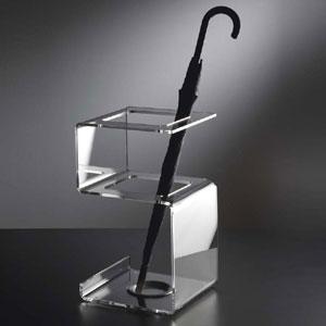Portaombrelli 30x28xh52 cm SNAKE in plexiglas bicolore e vaschetta raccogli acqua in alluminio