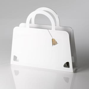 Portariviste Shop Bag in plexiglas trasparente 40x10x36 hcm Bianco