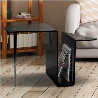 Tavolinetto Portariviste R2 70x37xh46,5 cm con gamba in metallo lucido in plexiglas trasparente spessore 6 mm colore nero