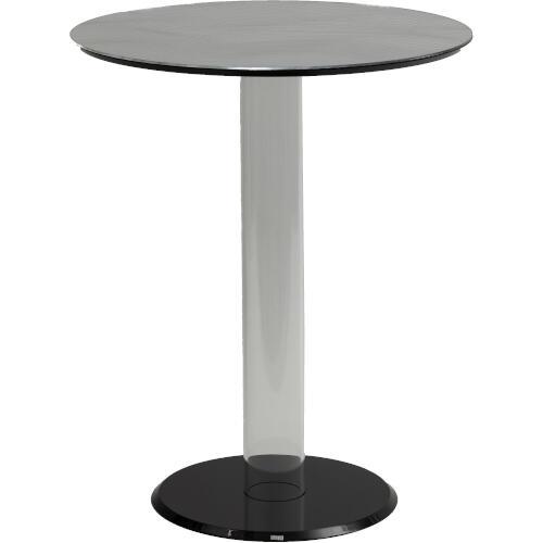 Tavolinetto rotondo diametro 50xh60 cm NARCISO top cristallo acrilico specchiato spessore 10 mm