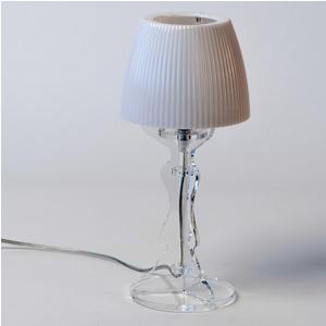 Lampada da tavolo Abat Jour Piccola LADY diametro Ø14xh31cm Trasparente Bianco