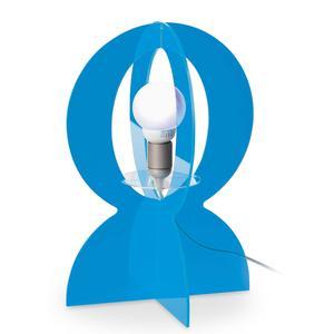 Lampada da tavolo in plexiglass colorato trasparente BASCO 30x30xh43 cm-E 27 W40 in celeste trasparente