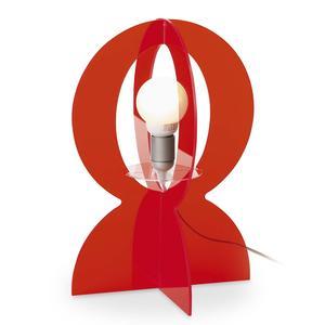 Lampada da tavolo in plexiglass colorato trasparente BASCO 30x30xh43 cm-E 27 W40 in rosso trasparente