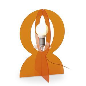 Lampada Abat-Jour in plexiglass colorato trasparente BASCO 21.5xh30 cm in arancio trasparente