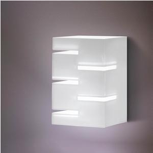 Applique Da Muro QUADRA 13.5x12,9xh30 cm 40 W E 14 in Plexi Bicolore con Intagli colore Bianco