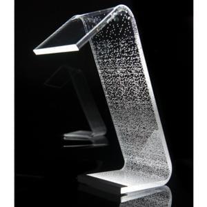 Lampada da Tavolo a Led 13,5x24x34h cm 0,25 w - 24 Volt C-LED Degradè in Plexi con decoro inciso righe