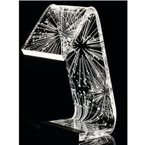 Lampada da Tavolo a Led PINS 13,5x24x34h cm 0,25 w - 24 Volt C-LED in Plexi con decoro inciso righe