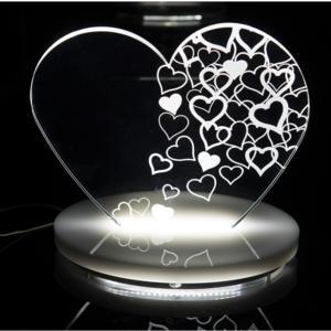 Lampada da Tavolo a Led 22x15x21h cm 0,25 w - 24 Volt LOVE in Plexi con decoro inciso