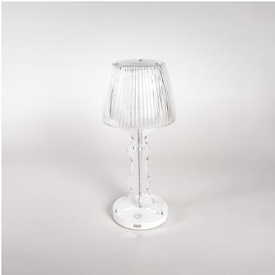 Lampada da tavolo Abat Jour Lady Led diametro 14xh33cm cappellino prismatico funzione a batteria