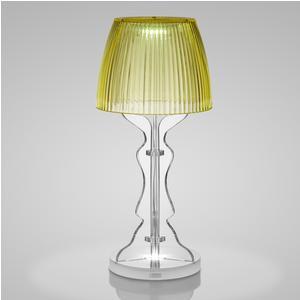 Lampada da tavolo Abat Jour Lady Led diametro 14xh33cm cappellino prismatico funzione a batteria Autonomia 6 ore giallo