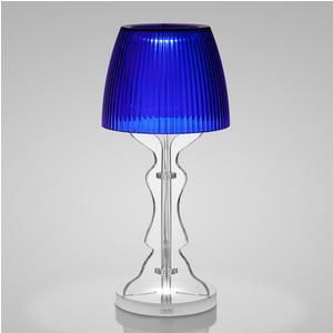 Lampada da tavolo Abat Jour Lady Led diametro 14xh33cm cappellino prismatico funzione a batteria Autonomia 6 ore Blu