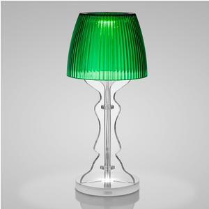 Lampada da tavolo Abat Jour Lady Led diametro 14xh33cm cappellino prismatico funzione a batteria Autonomia 6 ore Verde