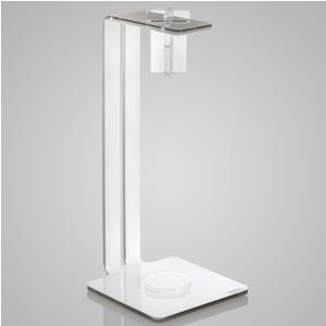 Porta rotolo da cucina portascottex 10,5x10.5xh24 cm in cristallo acrilico bicolore tortora