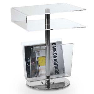 Tavolinetto Portariviste TV 35x40xh52 cm in plexiglas trasparente spessore 6 mm Trasparente