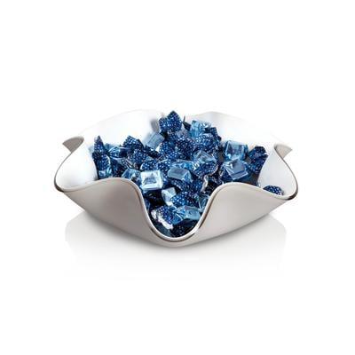 Centrotavola, portafrutta fazzoletto medio in cristallo acrilico LIke Water 30xh10 cm - spessore 5 mm colore Grigio tortora