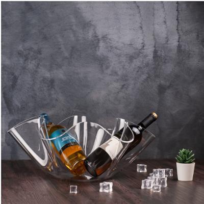 Portavino da tavolo in cristallo acrilico LIke Water 48,5xh20 cm 6 bottiglie trasparente